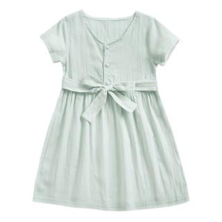 Đầm Sanlutoz Cotton Màu Xanh Lá Thời Trang Mùa Hè Cho Bé Gái Đi Chơi Biển