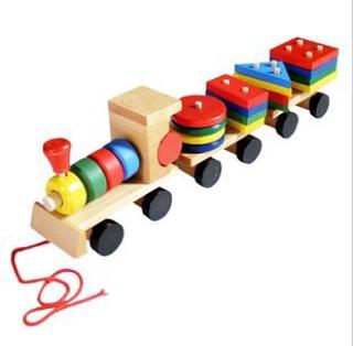 Đoàn tàu thả hình – đồ chơi gỗ thông minh