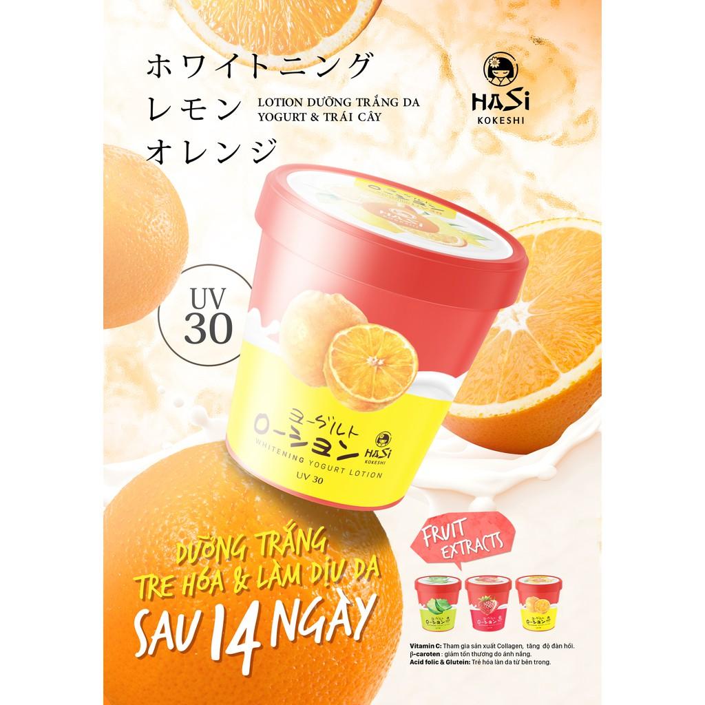 Kết quả hình ảnh cho Lotion dưỡng thể trắng da Hasi Yogurt & trái cây (chiết xuất cam tươi, chanh vàng) uv30