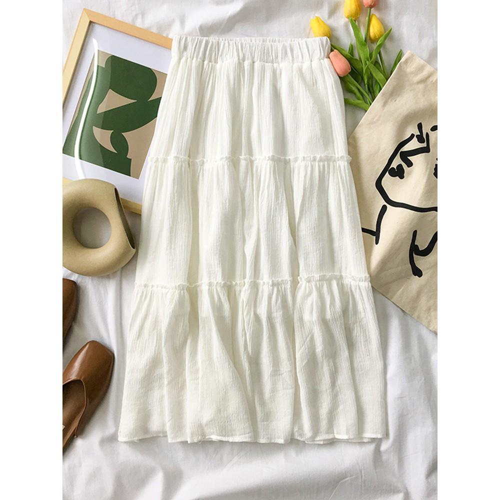 (CÓ SẴN) -Chân váy trắng xòe dài - Kèm ảnh thật
