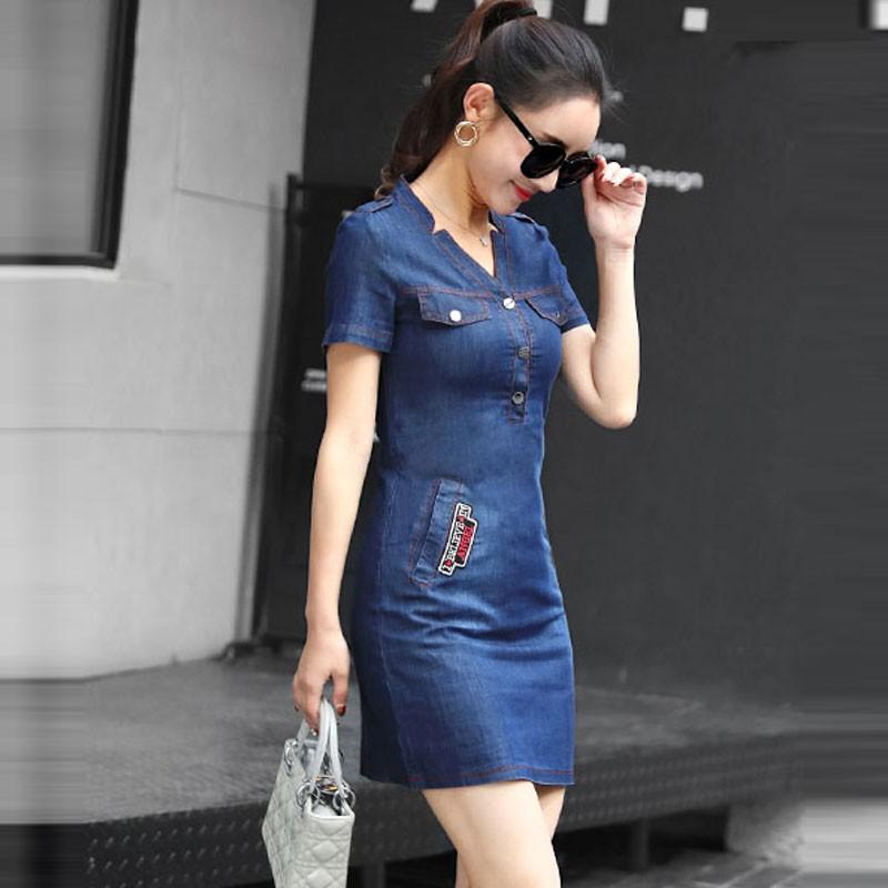 SALE NHẸ - Đầm jean suông cổ V khuyết - TP1733 - GS160