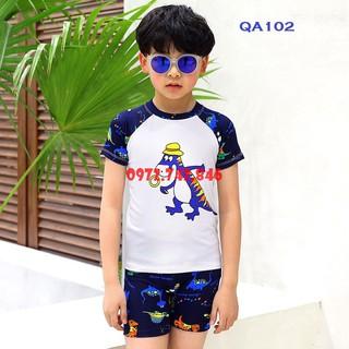 [Tặng mũ bơi] Bộ đồ bơi bé trai – khủng long Tini, vải spandex cao cấp, chống UV400