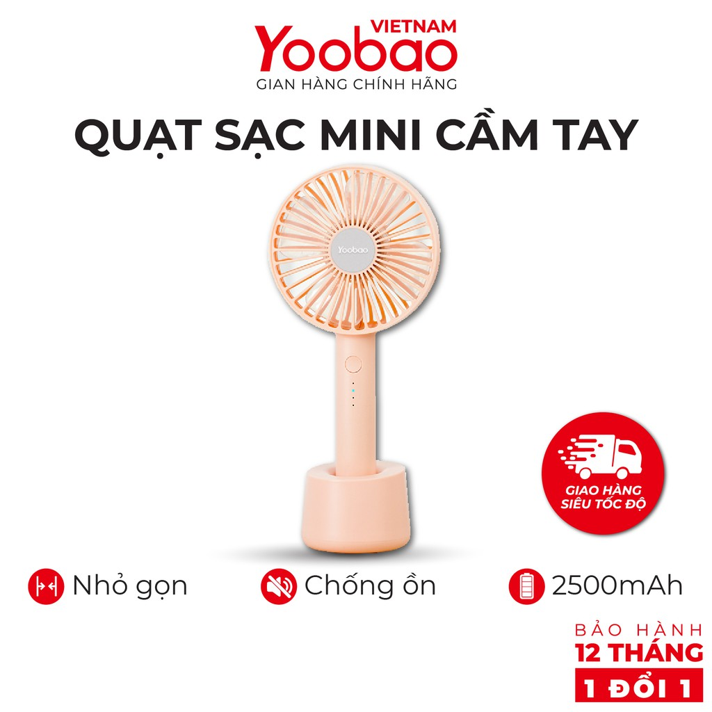 Quạt sạc mini cầm tay YOOBAO F02 2500mAh Kèm đế đặt bàn 3 chế độ gió - Hàng chính hãng - Bảo hành 12 tháng 1 đổi 1