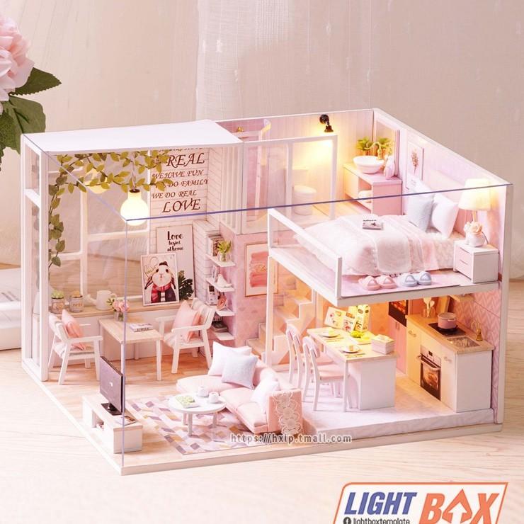 Nhà búp bê Tự làm bằng gỗ [Nhà có nội thất TRANQUIL LIFE & đèn LED] Tặng KHUNG BẢO VỆ + DỤNG CỤ Và keo dán