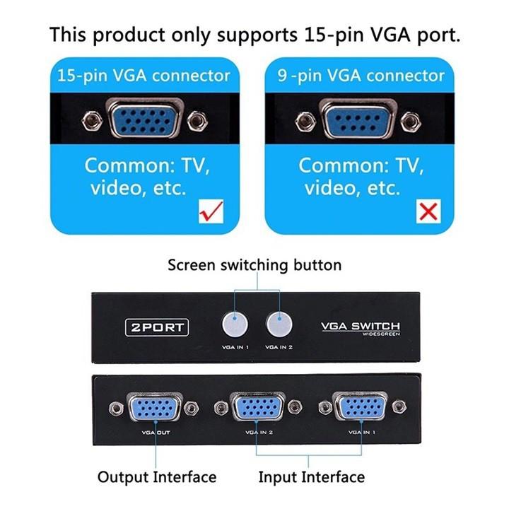 Box Chia Tín Hiệu VGA 2 Cổng Vào 1 Cổng Ra Màn Hình, Máy