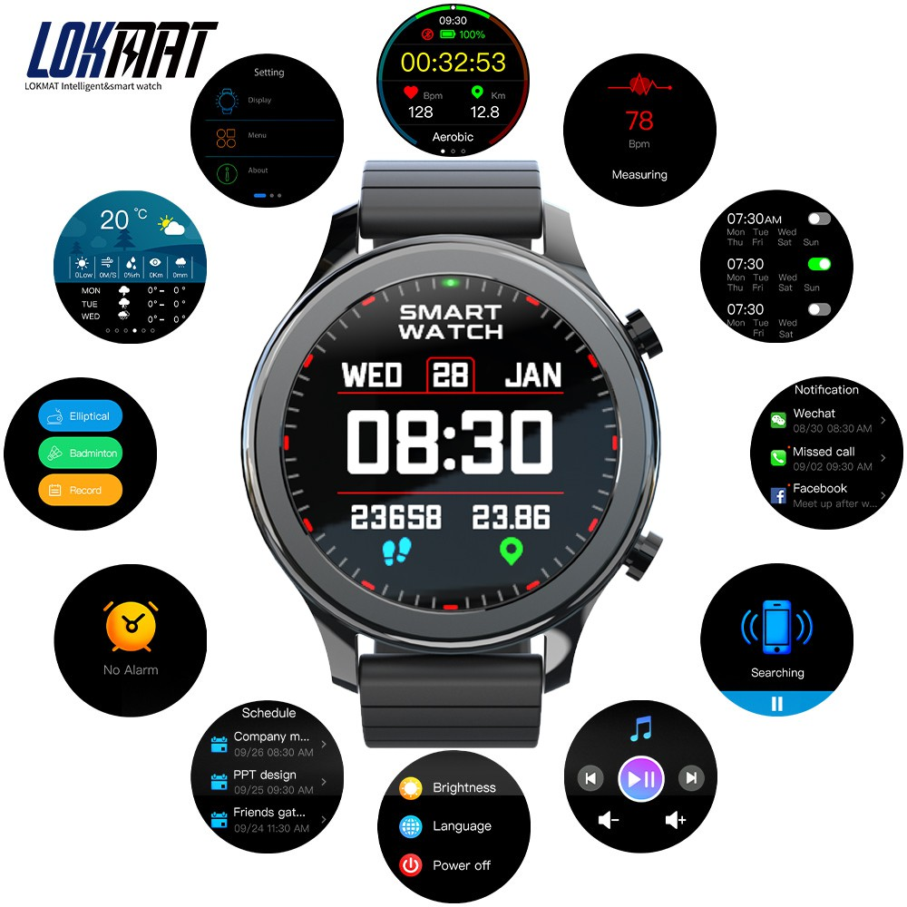 LOKMAT TIME Smart Watch Full Touch Screen Fitness Tracker Heart Rate Monitor Blood Oxygen Couple Smartwatches For IOS Android
