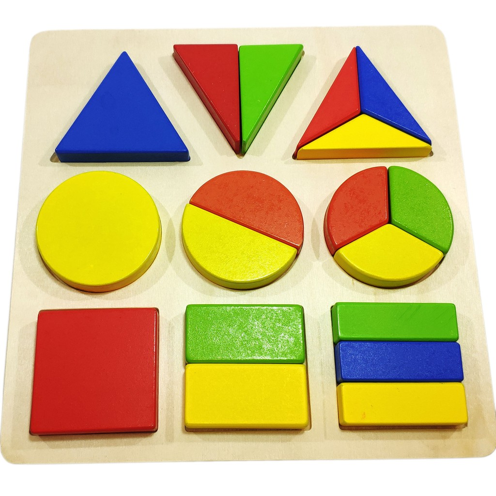 Đồ chơi gỗ – Bảng chia phân số 3 hình cơ bản Vivitoys