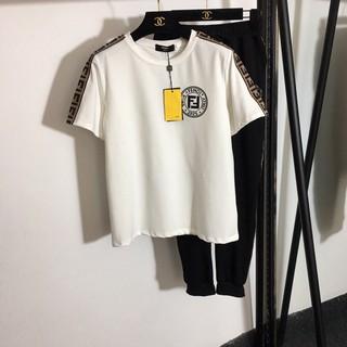 bộ hè áo phông ngắn tay cổ tròn + quần thể thao cạp chun fendi FD