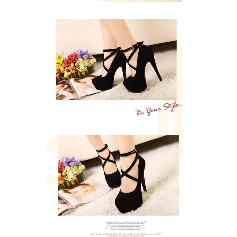 Giày cao gót nữ Đan chéo thời trang 12cm