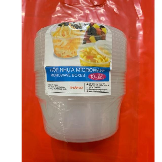10 hộp nhựa tròn microwave thuận lợi 350ml