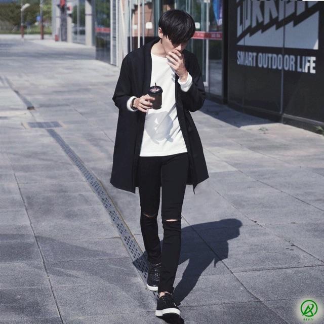 Áo len nam cardigan dáng dài