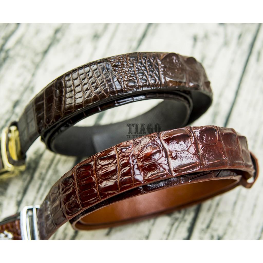 Dây lưng nịt lưng thắt lưng nam da cá sấu tự nhiên thật - bảo hành 1 năm