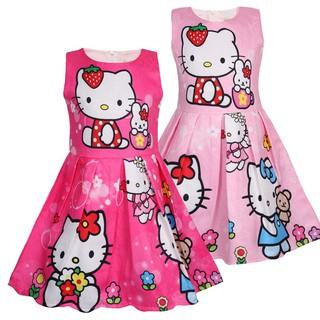 Đầm dáng chữ A in hình mèo Hello Kitty cho bé gái 3-8 tuổi