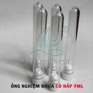 Ống nghiệm nhựa PS 7ml có nắp 2 tầng KHÔNG nhãn HTM túi 10 cái