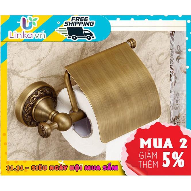 Hộp đựng giấy vệ sinh nhà tắm bằng đồng GD408 – Hoa văn chạm nổi tinh xảo