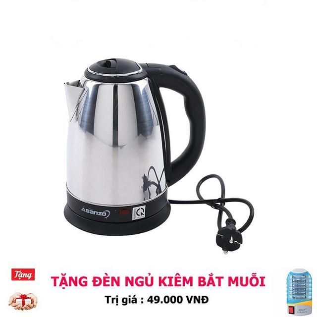 BÌNH ĐUN SIÊU TỐC ASANZO SK-1800 (INOX)_Tặng kèm đèn ngủ bắt