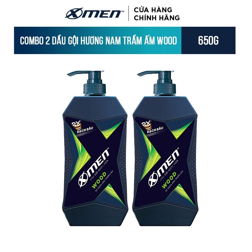 Combo 2 Dầu Gội X-Men Hương Nam Trầm Ấm Wood 650g/chai