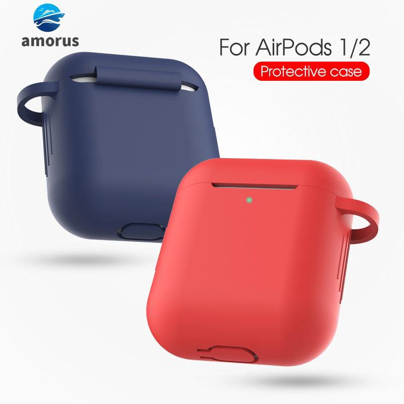Silicone Protective Case with Buckle for AirPods with Charging Case (2016)/with Charging Case (2019)