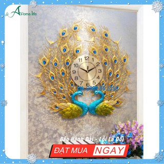 [Giá sỉ] Đồng Hồ Treo Tường Trang Trí Chim Công Uyên Ương Phú Quý 3D chính hãng WM244 - Tặng đồng hồ kim trôi