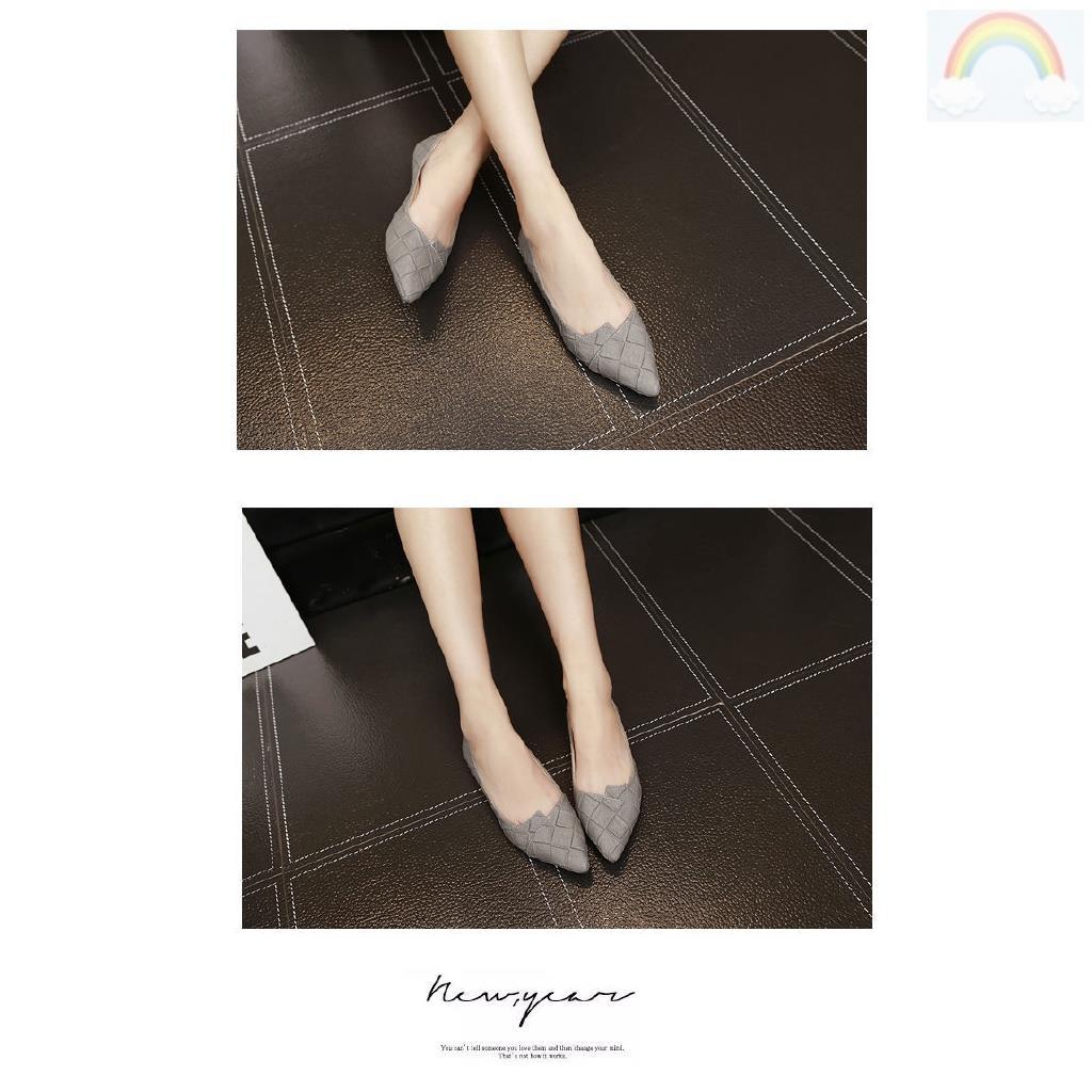 Giày Búp Bê Mũi Nhọn Đế Bằng Màu Đen Thời Trang Cho Nữ