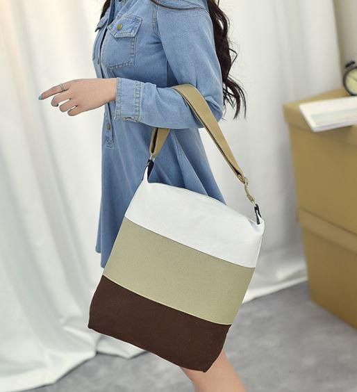 มี (3) สี กระเป๋าผ้าสีรุ้ง กระเป๋าผ้า Rainbow กระเป๋าสะพายข้าง