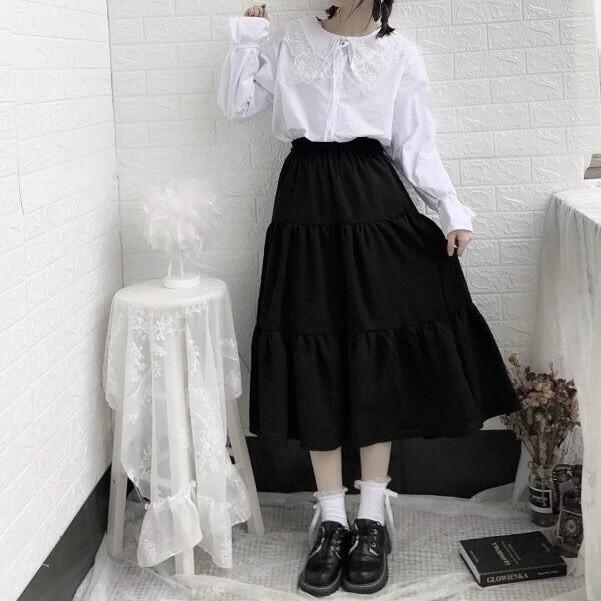 Chân váy voan  2 lớp Ulzzang 3 tầng dáng dài, chân váy vintage xoè chữ  A
