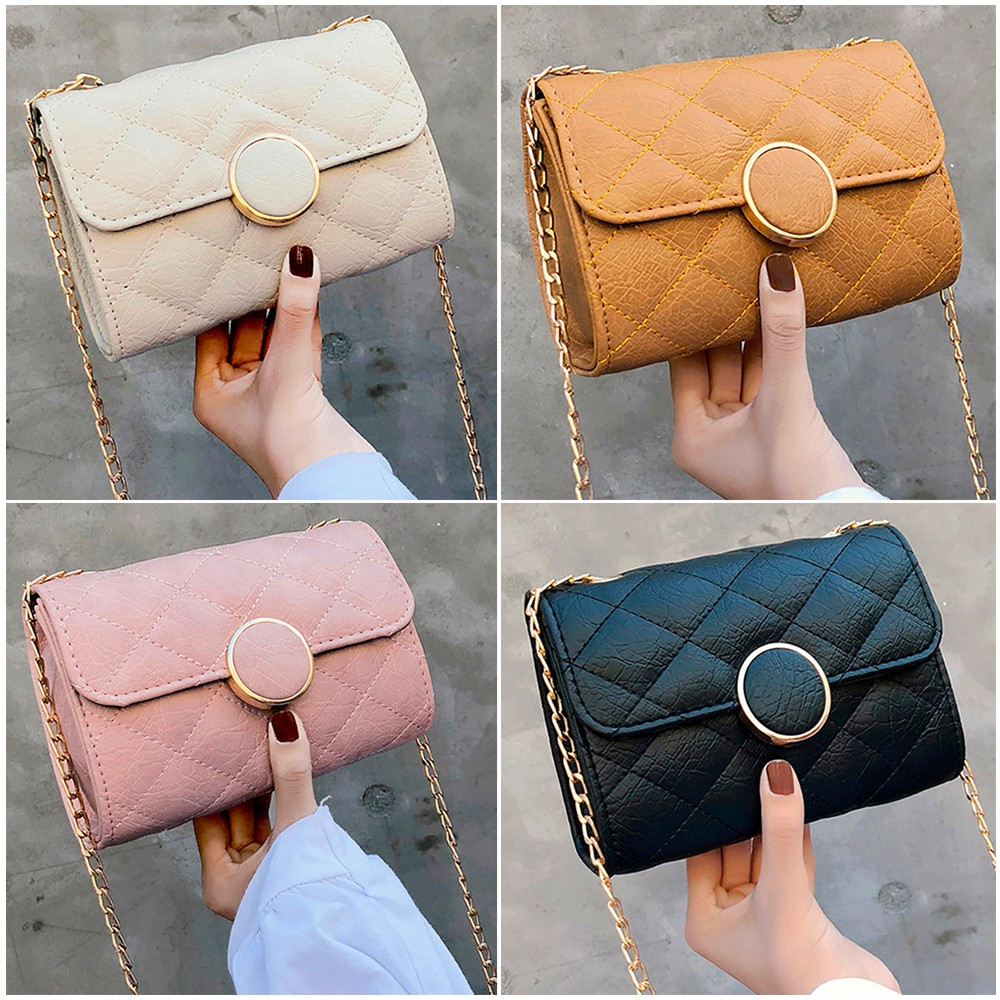 ❣️ Women Solid Color Simple Chain Shoulder Small Square Bag