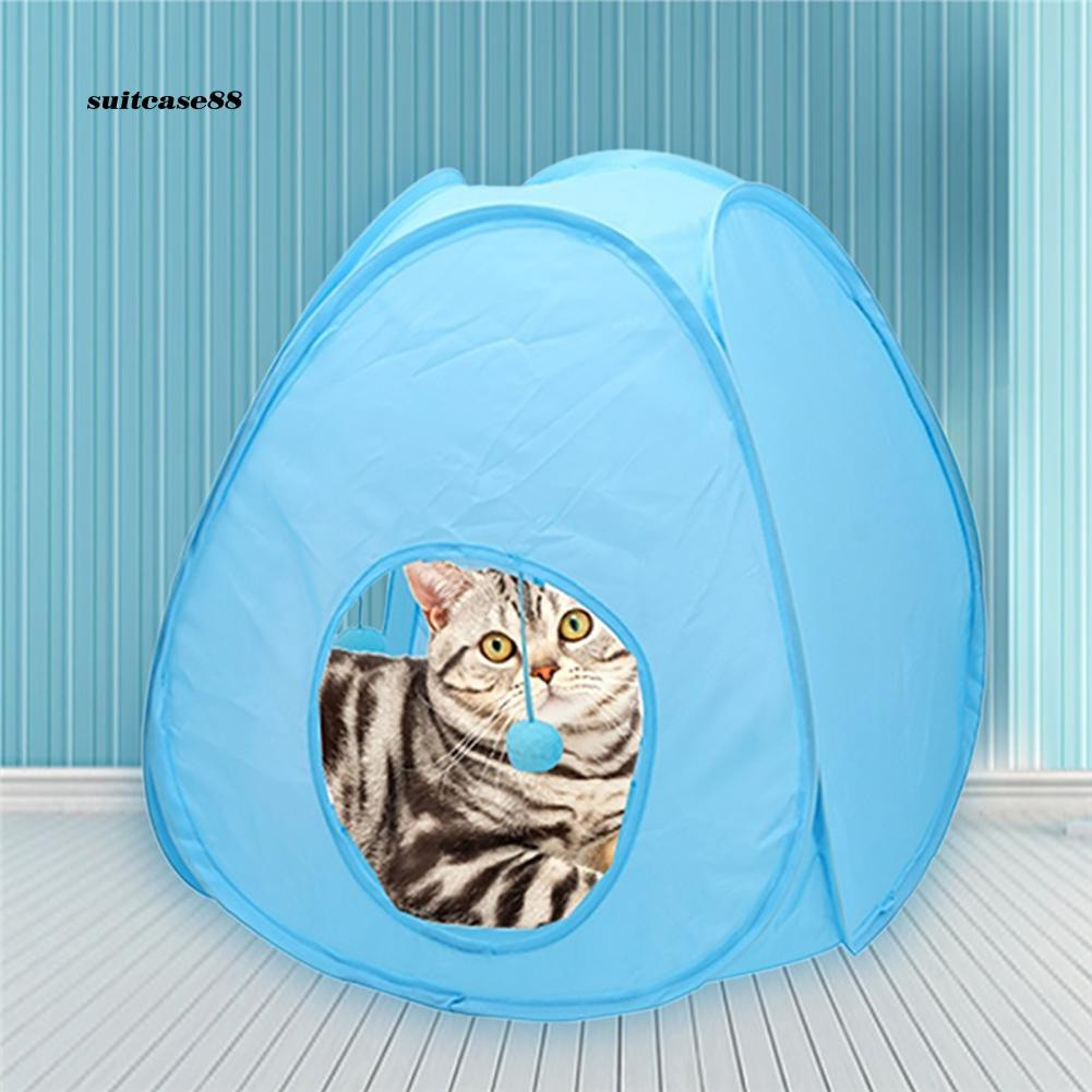 Stcs♥Pet Cat Dog Kitten Tunnel Tent Toy Hide Playing Foldable House Hanging Ball