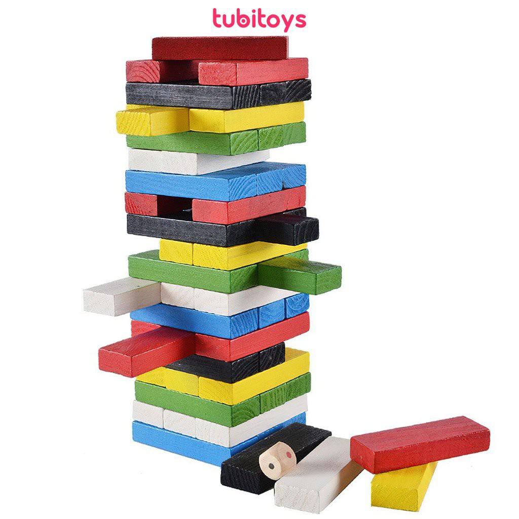 Trò chơi rút gỗ cho bé TUBIOTYS 54 thanh màu cỡ lớn-Domino màu(kèm xúc xắc)  chính hãng