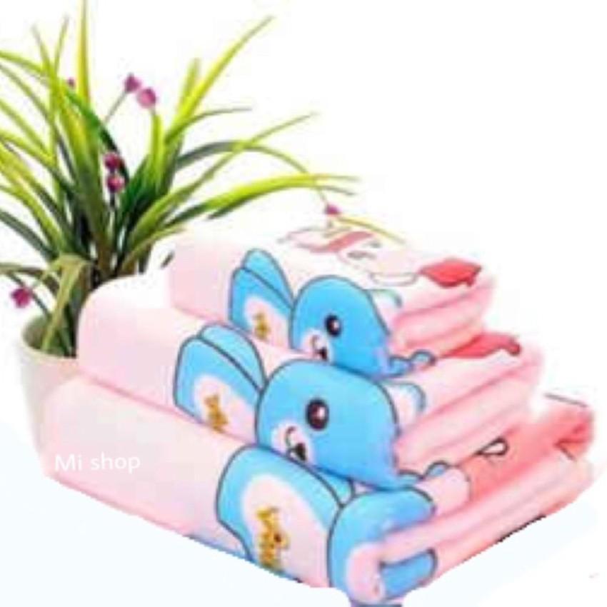 Bộ 3 khăn Thái hình gấu siêu thấm (Hồng)