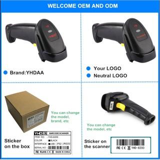 Máy Scan Barcode YHD-8200 1D tia Laser có dây không cần cài đặt