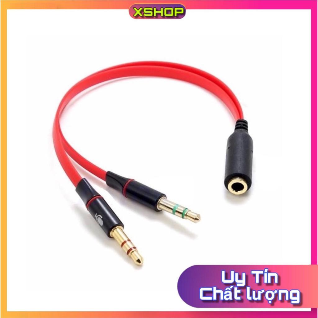 Cáp gộp và chia audio và mic 3.5mm Jack gộp tai nghe 3.5 bọc chống đứt