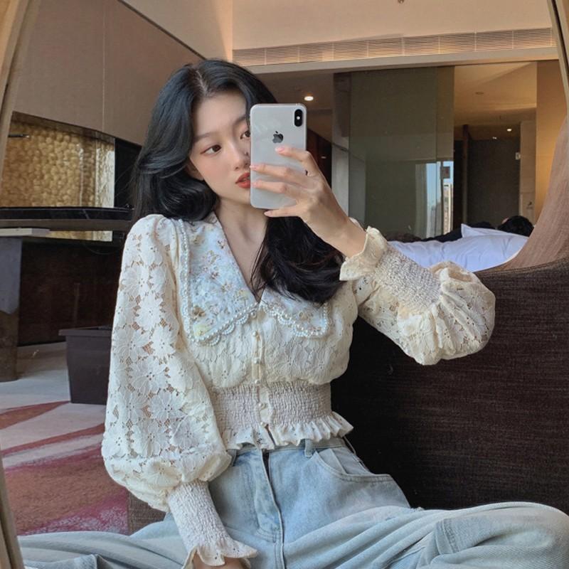 Áo nữ tay dài xẻ cổ chữ V phong cách Hàn Quốc tinh tế
