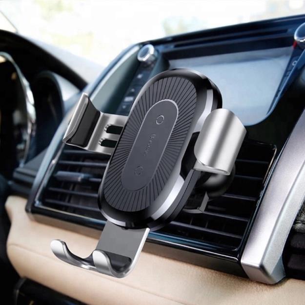 Giá đỡ điện thoại trên ô tô kiêm sạc không dây-chuẩn hãngBASEUS