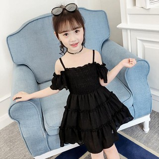 (E098) Đầm bé gái màu sắc trung tính hai dây trễ vai chân váy xếp tầng dáng rộng chất liệu mềm thoáng thời thượng