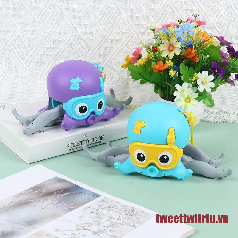 TRTU 1Pc Children Octopus Clockwork Toy Baby Bath Toys Kids Rope Pulled Crawling Toys