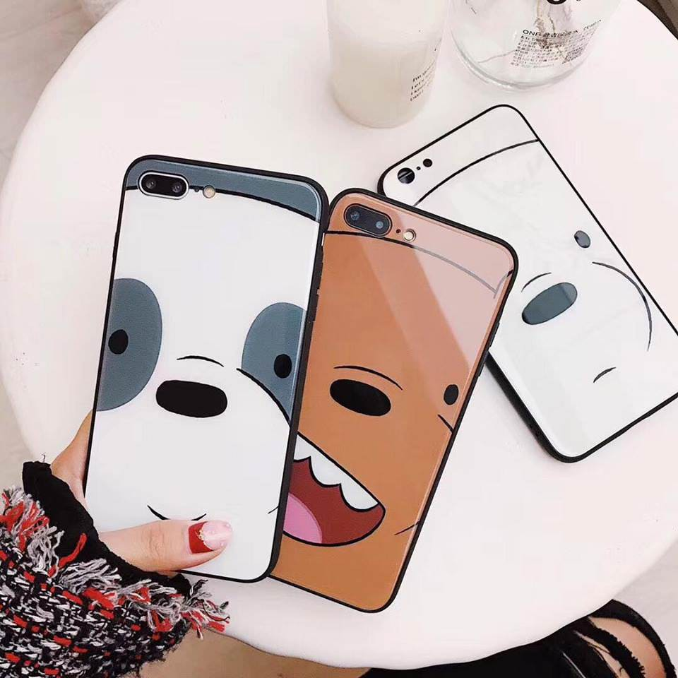 ỐP KÍNH GẤU BROWN CUTE DÀNH CHO IPHONE 6plus/6splus/7plus/8plus