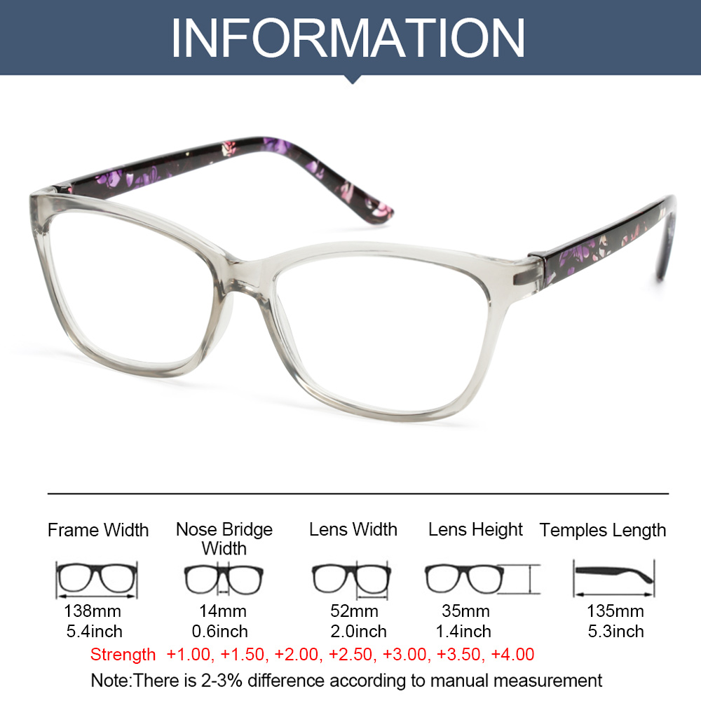 ROSE Portable Presbyopia Eyeglasses Radiation Protection Eyewear Floral Reading Glasses With Diopters +1.0~+4.0 Ultralight HD Resin Lens PC Frame Anti...