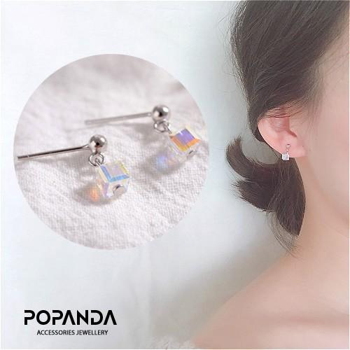 Siêu đẹp - Bông tai nữ bạc 925 khối vuông pha lê sawoaroki lấp lánh 🔝🔝 popanda