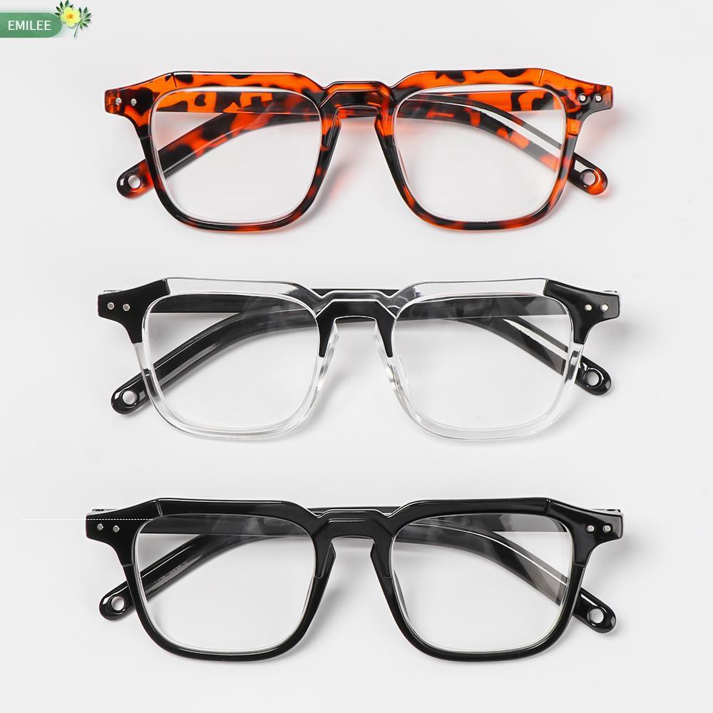 EMILEE💋 Unisex Optical Eyewear Classic Vision Care Myopia Glasses Office Computer Goggles Fashion Square Frame Vintage Eyeglasses/Multicolor