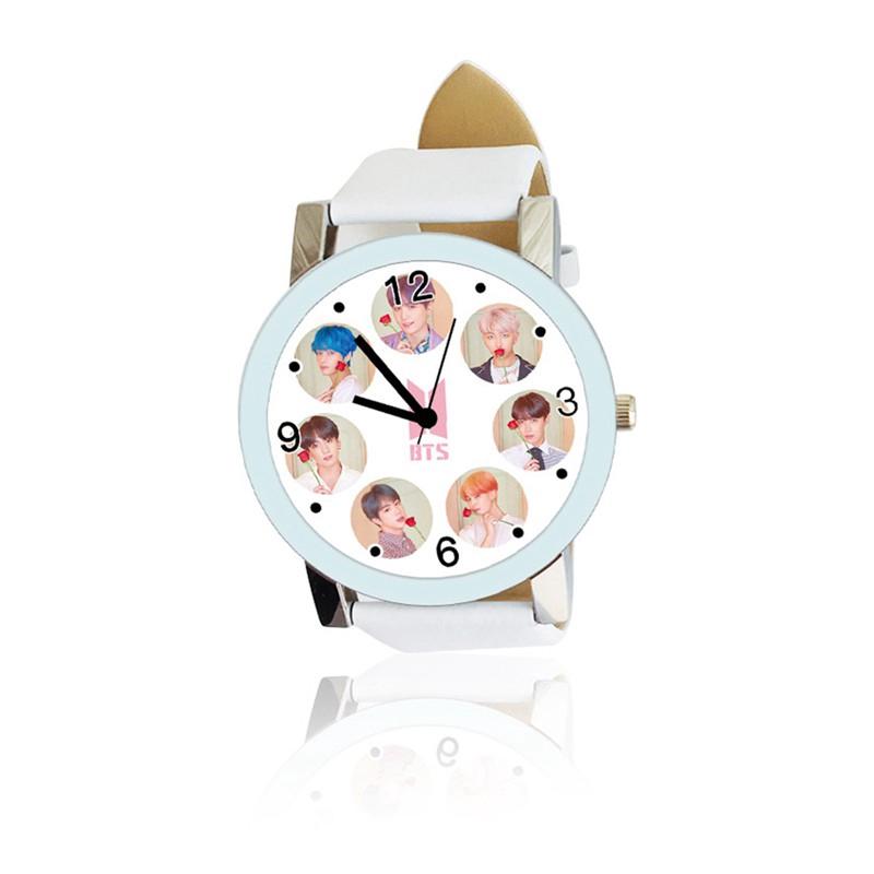 Đồng hồ kim loại mặt hình nhóm nhạc hàn quốc bts bt21 cá tính thời trang