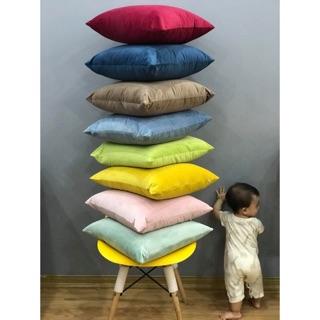Gối tựa sofa màu trơn vải nhung cao cấp 11 màu có sẵn
