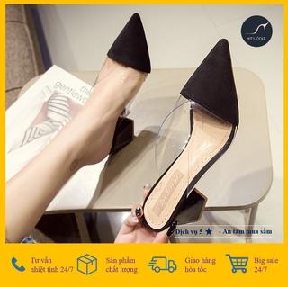 [Giá hủy diệt] [ ẢNH THẬT ] Giày Cao Gót Vuông Nữ Bít Mũi Nhọn Phối Mica Trong Suốt 7cm Thời Trang Hàn Quốc