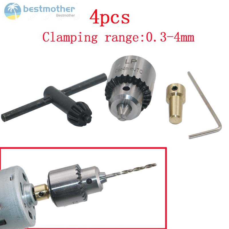 4 Pcs/Set Micro Motor Drill Chucks Clamp 0.3-4mm Taper Drill With Chuck Key 3.17mm 1/8inch Shaft Connecting Rod