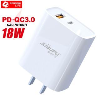 Củ sạc nhanh gồm Cổng PD Type C và USB QC 3.0 BH 12 THÁNG 1 ĐỔI 1 FENGZHILIFE U01C-T