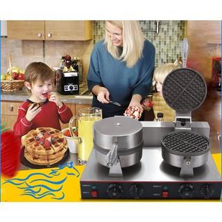 Máy làm bánh waffe tròn đôi dùng điện