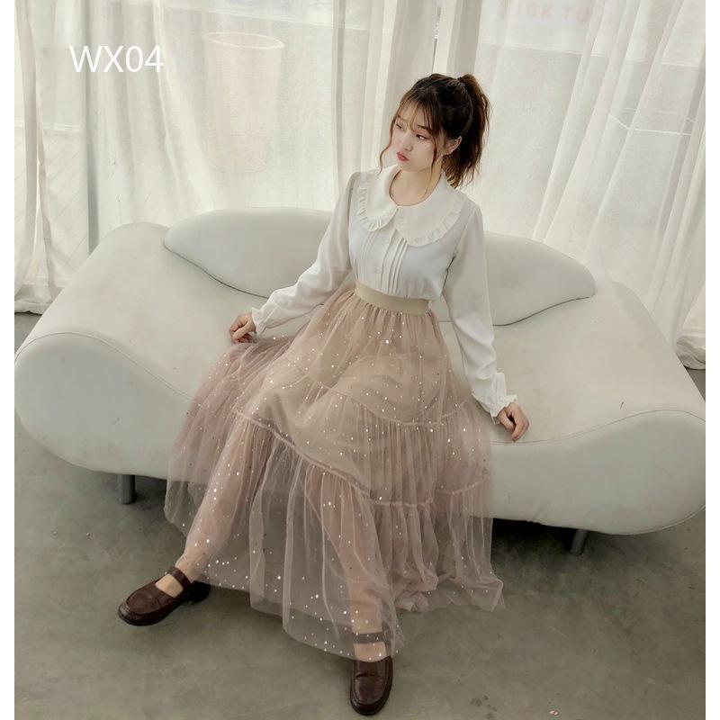 2045470183 - Chân váy lưới dài 2 lớp kiểu dáng xinh xắn thời trang cho nữ