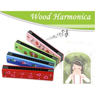 Kids Wooden Harmonica Wind Instrument Educational Toy