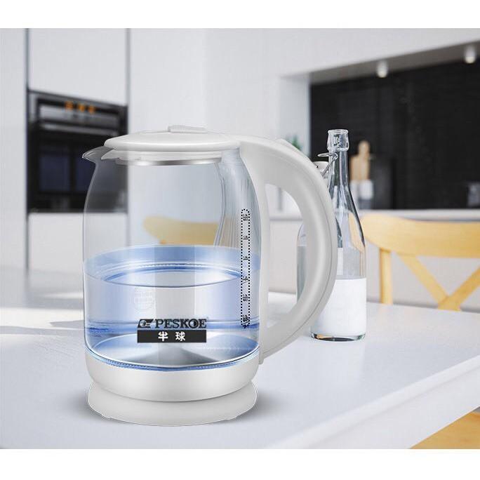 Ấm Siêu Tốc Thủy Tinh Kalas - Ấm Đun Nước Thủy Tinh Công Suất Lớn 1500W Dung Tích 1.8 Lít