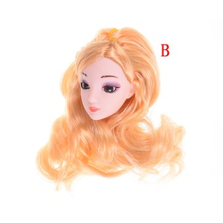 ❤❤3D Eyes Head Nake Joints Body Doll Head Toys for Barbie Dolls Long Hair